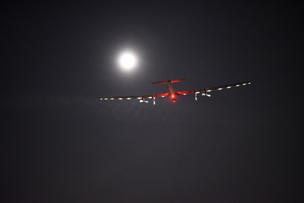Dayton, Ohio, USA, May 25th 2016: Solar Impulse took off from Dayton, Ohio to Lehigh Valley, Pennsylvania, with Bertrand Piccard at the control. Departed from Abu Dhabi on march 9th 2015, the Round-the-World Solar Flight will take 500 flight hours and cover 35'000 km. Swiss founders and pilots, Bertrand Piccard and André Borschberg hope to demonstrate how pioneering spirit, innovation and clean technologies can change the world. The duo will take turns flying Solar Impulse 2, changing at each stop and will fly over the Arabian Sea, to India, to Myanmar, to China, across the Pacific Ocean, to the United States, over the Atlantic Ocean to Southern Europe or Northern Africa before finishing the journey by returning to the initial departure point. Landings will be made every few days to switch pilots and organize public events for governments, schools and universities.